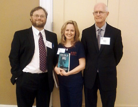 Dr. Kristofer Ray, APSU assistant professor of history, Deanna Carter, APSU graduate student, and Dr. Donald Hickey, Wayne State College professor of history, meet at the Tennessee, the Atlantic World and the War of 1812 symposium in Nashville.