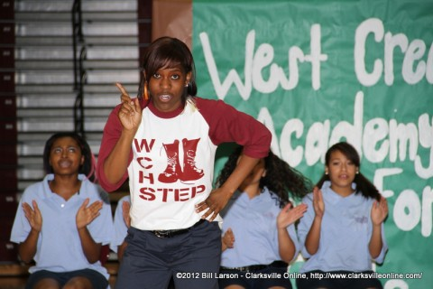 The West Creek High School Step Team showing how it's done
