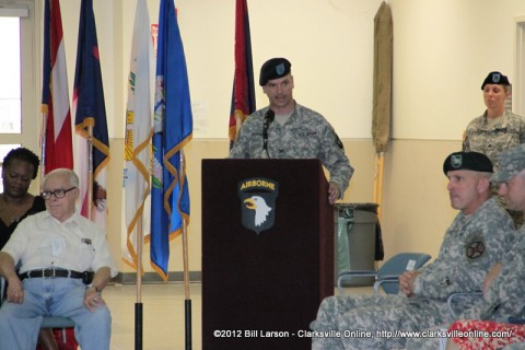 Col. Royar, the Commander of the 159th addressing the assembled soldiers and family members
