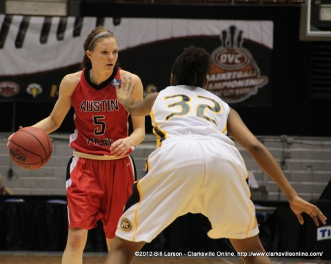 APSU's Nicole Olszewski finds herself stopped cold by Murray State's Candace Nevels during the Quarterfinal game at the OVC Tournament