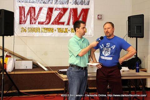 Wade Neely of the Clarksville Sports Network interviews one of the Exhibitors at the 2012 Clarksville Sports Network