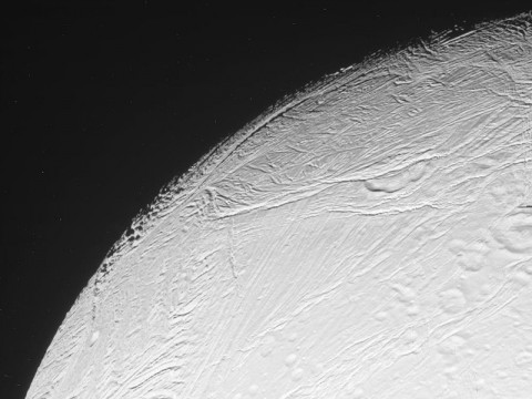 This raw image from NASA's Cassini spacecraft was taken on March 27th, 2012. The camera was pointing toward Saturn's moon Enceladus at approximately 19,810 miles (31,881 kilometers) away. (Image Credit: NASA/JPL/Space Science Institute)