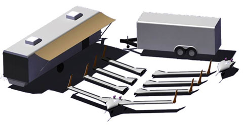 Artist's rendering of X-56A MUTT package, consisting of the aircraft with three additional wing sets and a second fuselage/mid-body (center), flanked by the ground control station on the left and the air vehicle storage/transport trailer on the right. (AFRL/Lockheed image)