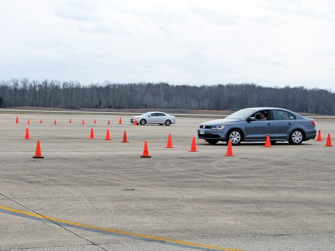 Soldiers with the 716th Military Police Battalion, 101st Sustainment Brigade, prepare to negotiate a driving obstacle on Saber Army Airfield as part of their Law Enforcement Training Seminar. (Courtesy Photo)