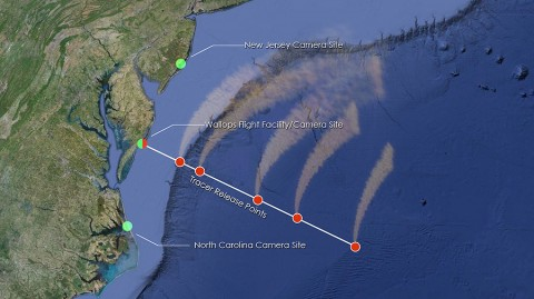 The red dots over the water show where ATREX will deploy chemical tracers to watch how super fast winds move some 60 miles up in the atmosphere. While there are only five rockets, two will deploy two sets of tracers, resulting in seven clouds. Only six dots appear in this image, since two will be deployed at the left-most red/green dot, which represents Wallops. Three cameras will track the cloud tracers – one at Wallops and two located at the green dots. (Credit: NASA/Goddard Space Flight Center)