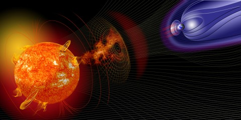 Artist illustration of events on the sun changing the conditions in Near-Earth space. (Credit: NASA)