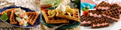 Creamed Chicken on Corn Meal Waffles, Belgian Pecan Waffles With Cinnamon Apples and Whipped Cream and Fun Filled Chocolate Dessert Waffles.