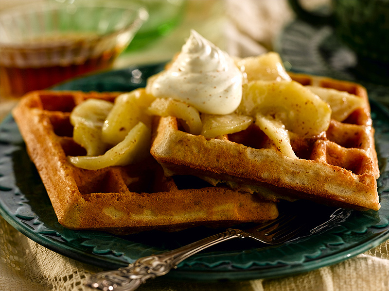 Belgian Pecan Waffles With Cinnamon Apples and Whipped Cream
