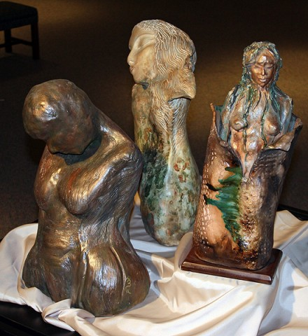 Knoxville sculptor Annamaria Gundlach's clay torsos.
