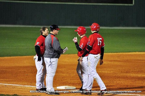 APSU Baseball coach Gary McClure, gray jacket, is the only coach in OVC Baseball history to win 300 OVC games. He's also the only OVC coach with over 700 overall wins and his 732 is just 44 away from the OVC's all-time mark held by former Murray State coach Johnny Regan, who has 776 overall wins. Austin Peay Baseball.