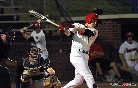Desingated hitter Jon Clinard's two-run fifth-inning triple put the Govs ahead for good in Sunday's win against UT Martin. Austin Peay Baseball. (Courtesy: Brittney Sparn/APSU Sports Information)