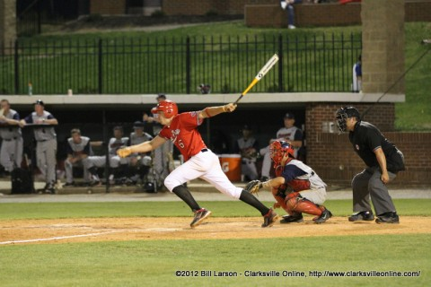 Austin Peay Shortstop Reed Harper hits a single to drive in three runs in the Governors win over Eastern Kentucky, Saturday afternoon. Austin Peay Baseball.