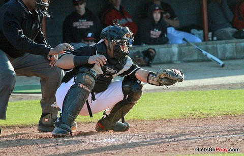 Catcher P.J. Torres tied Friday's suspended game twice, including a two-run ninth inning double. Austin Peay Baseball. (Courtesy: Brittney Sparn/APSU Sports Information)