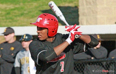 Right fielder Rolando Gautier had a second-inning two-run home run in the Govs loss to Murray State, Friday night. Austin Peay Baseball. (Courtesy: Brittney Sparn/APSU Sports Information)