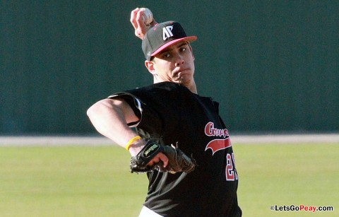Senior starter Zach Toney held EKU to two hits over six innings in Saturday's loss. Austin Peay Baseball. (Courtesy: Brittney Sparn/APSU Sports Information)