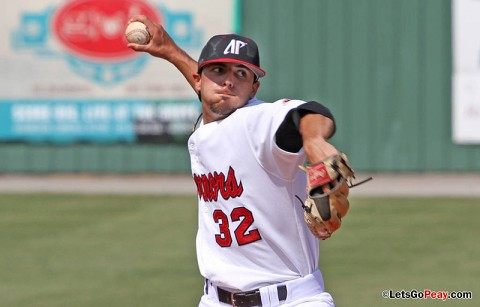 Junior Casey Delgado threw the Govs first complete game since 2008 in Sunday's win at Eastern Kentucky. Austin Peay Baseball. (Courtesy: Brittney Sparn/APSU Sports Information)