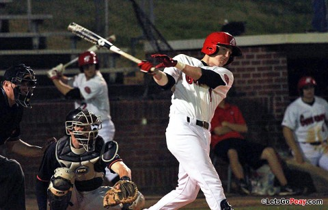 Designated hitter Jon Clinard had a two-run home run in the Govs victory at Tennessee, Tuesday. Austin Peay Baseball. (Courtesy: Brittney Sparn/APSU Sports Information)