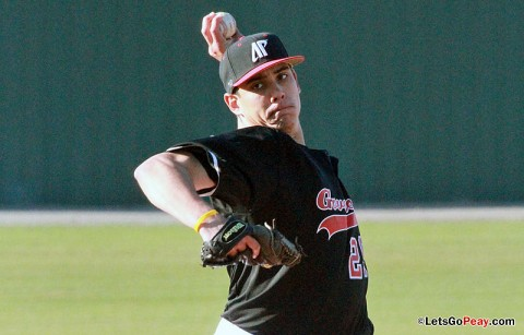 Starter Zach Toney threw eight scoreless innings as Austin Peay downed Jacksonville State, Friday. Austin Peay Baseball. (Courtesy: Brittney Sparn/APSU Sports Information)