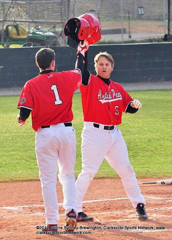 Members of the Governors celebrate after scoring a run earlier this season. The Govs defeated Jacksonville State 5-2 in their series opener Friday afternoon at Raymond C. Hand Park. Austin Peay Baseball.