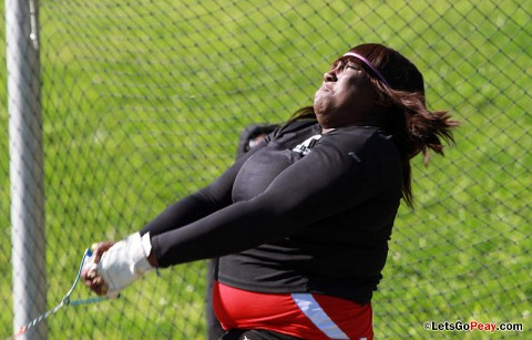 Tanesha Campbell set the school record in the hammer throw at the APSU Invitational, Saturday, at Governors Stadium. Austin Peay Women's Track and Field. (Courtesy: Austin Peay Sports Information)