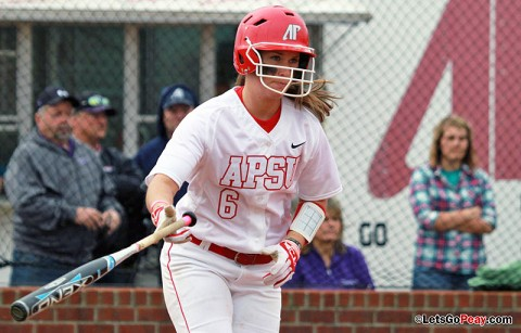 Paige Neely had four hits and four RBI in losses to UT Martin. Austin Peay Softball. (Courtesy: Brittney Sparn/APSU Sports Information)
