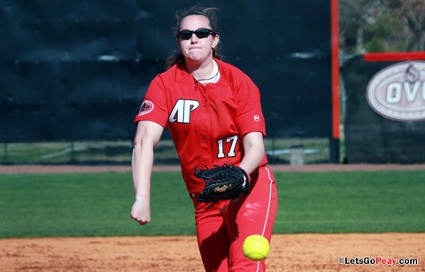 Junior Morgan Brewer lost her second 1-0 decision of the weekend to EIU on Sunday. Austin Peay Softball. (Courtesy: Austin Peay Sports Information)