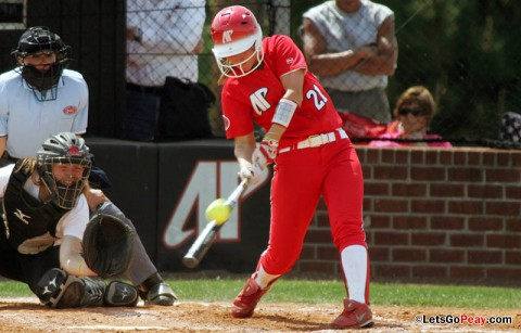 Freshman Sarah Rasmussen recorded two hits, including her first home run of the season Saturday versus Southeast Missouri. Austin Peay Softball. (Courtesy: Austin Peay Sports Information)