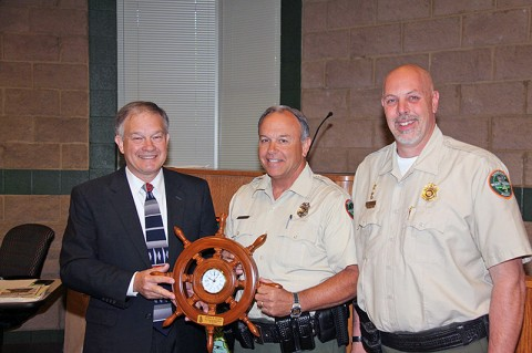 Alen Herald with Director Carter and Chief Rider. Officer Herald is name Part-Time Boating Officer of the Year for the second time in as many years.