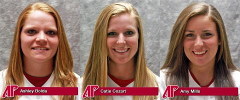 Austin Peay Softball's three seniors, Ashley Bolda, Catie Cozart, and Amy Mills.