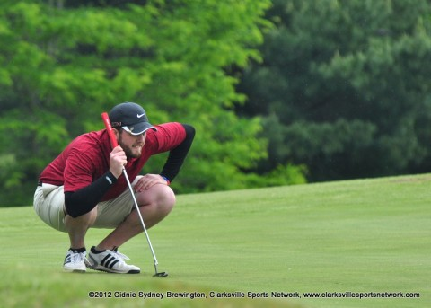 Josh Black sizes up a putt during the final round of the First Advantage Two Man Tri-Fecta at Cole Park Sunday.