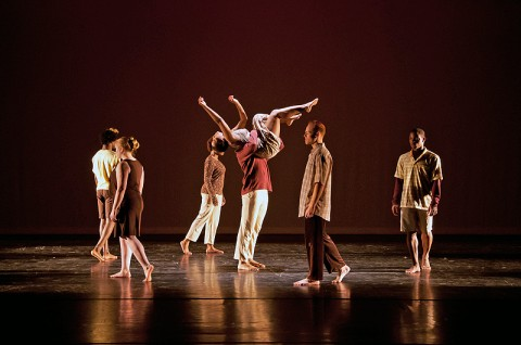 """APSU dance students perform assistant professor of dance Margaret Rennerfeldt's piece """"Finding Place,"""" which was selected for the gala performance at the ACDFA's regional conference."""