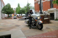 A CPD Motorcycle officer clears the way