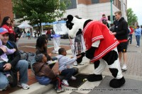 The Chick-Fil-A Cow High Fives a young parade watcher