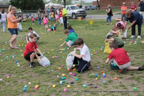 Children gather Easter Eggs at the Cunningham Volunteer Fire Department's Annual Easter Egg Hunt on Saturday