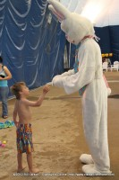 A young man gets a special moment with the Easter Bunny