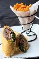 Roast Beef Wrap with Waffle Fries