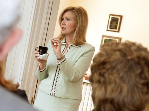 U.S. Rep. Marsha Blackburn of the 7th Congressional District speaks to APSU President Tim Hall's Circle of Advisers during a visit to campus Monday, April 2nd. (Photo by Beth Liggett, APSU Public Relations and Marketing)