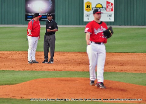 APSU Baseball coach Gary McClure, talking to umpire, is the only coach in OVC Baseball history to win 300 OVC games. He's also the only OVC coach with over 700 overall wins and his 732 is just 44 away from the OVC's all-time mark held by former Murray State coach Johnny Regan, who has 776 overall wins. Austin Peay Baseball.
