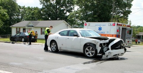 2009 Dodge Charger collides with a Mitsubishi Galant at the intersection of Cunningham Lane and Bevard Road Monday, April 20th. (Photo by CPD-Jim Knoll)