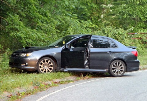 The deceased man's Dark Gray 2009 Subaru Impreza found on Victory Road early Sunday morning. (Photo by CPD-Jim Knoll)