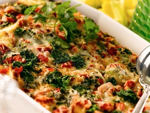 Italian Cheese and Spinach Cornbread Strata