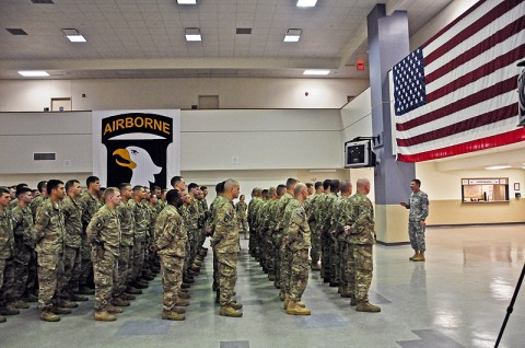 Maj. Gen. James McConville, commander of the 101st Airborne Division (Air Assault) and Fort Campbell, speaks to the deploying advisory teams of the 2nd Brigade Combat Team, 101st Abn. Div., at Fort Campbell's flight line moments before Strike's departure for eastern Afghanistan, Apr. 28th. The 101st's Strike Brigade is sending advisory teams for the Afghan National Security Forces in support of Operation Enduring Freedom. (U.S. Army photo by Sgt. Joe Padula, 2nd BCT PAO, 101st Abn. Div.)
