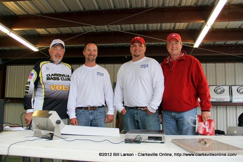 Michael Wilson won the grand prize door prize drawing of a 150HP Mercury FourStroke motor, valued at more than $13,000. (L to R) Kenneth Head; Clarksville Bass Club, Michael Wilson, Jonathan Puckett, and Steve Shaw; Director of Corporate Relations at APSU.