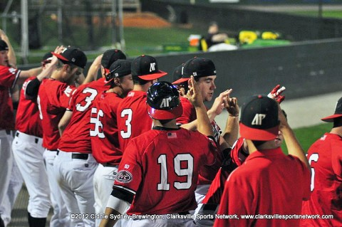Members of the Govs celebrate after a victory earlier this season. The Govs scored two runs in the bottom of the second and hung on for a 3-1 non-conference win over Lipscomb Tuesday night. Austin Peay Baseball.