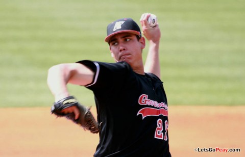 Starter Zach Toney threw a complete-game two-hit shutout against Morehead State, Friday night. Austin Peay Baseball. (Courtesy: Brittney Sparn/APSU Sports Information)