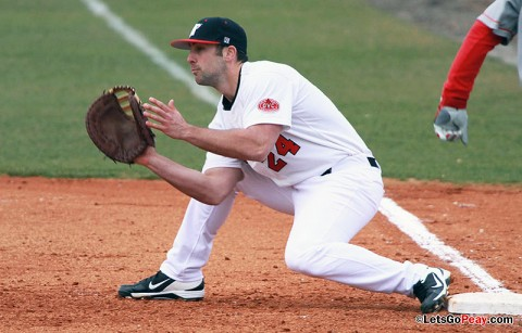 First baseman Tyler Childress went 3-for-3 at Belmont, Tuesday night. Austin Peay Baseball. (Courtesy: Brittney Sparn/APSU Sports Information)