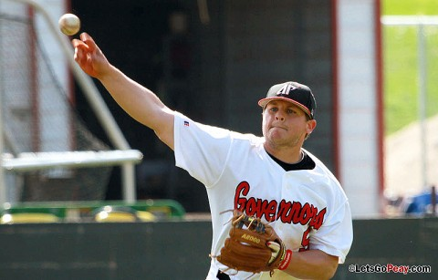 Third baseman Greg Bachman had four hits and four RBI in the Govs OVC-clinching win at Tennessee Tech, Saturday. Austin Peay Baseball. (Courtesy: Brittney Sparn/APSU Sports Information)