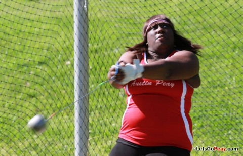 Tanesha Campbell took second in the shot put and third in the hammer at the OVC championships. Austin Peay Women's Track and Field. (Courtesy: Brittney Sparn/APSU Sports Information)