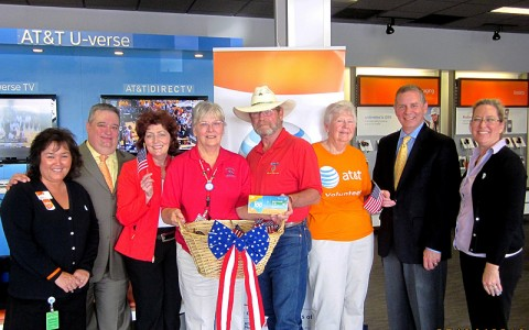 From left: Cathy Russell, AT&T; Bryan Klamer, AT&T; Kathy Sager, AT&T; Mary and David Ross, Operation Stand Down; Lynn Peeling, AT&T; Rep. Joe Pitts; Sue Tronnes, AT&T Pioneer.