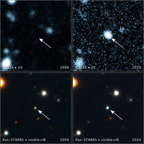 These images, taken with NASA's Galaxy Evolution Explorer and the Pan-STARRS1 telescope in Hawaii, show a brightening inside a galaxy caused by a flare from its nucleus. (Image credit: NASA/JPL-Caltech/JHU/STScI/Harvard-Smithsonian CfA)
